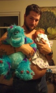 Bill was her first Valentine. He took her to the store and picked out a Sully for her from Monsters Inc....of course it will be awhile before she is big enough to play with him! This is one of my favorite pictures!